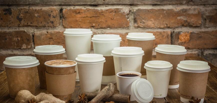 large gamme de gobelets pour boissons chaudes et froids en kraft et en PLA en bioplastique 100 compostable biodégradables recyclables