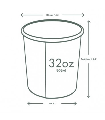 POT ROND PLA 950 ml COMPOSTABLE - vaisselle jetable biodégradable