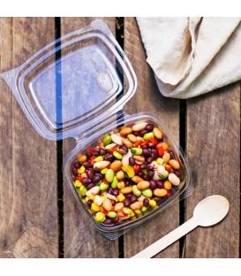 BARQUETTE À COUVERCLE RABATTABLE PLA 360 ml COMPOSTABLE - vaisselle jetable biodégradable