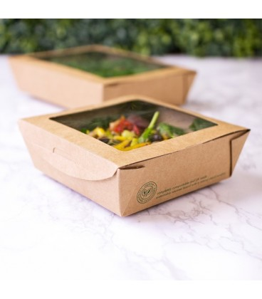 BOLS À SALADE AVEC FENETRE KRAFT 650ML COMPOSTABLE