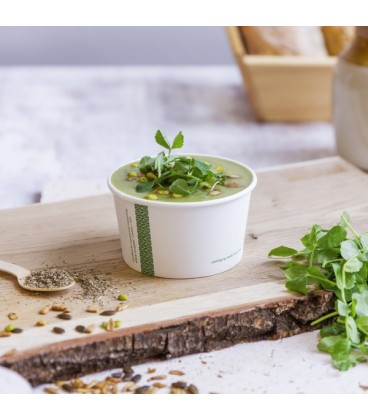 POT ROND pour soupes et glaces en PLA 360 ml COMPOSTABLE - vaisselle jetable biodégradable