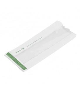 Sachet blanc avec fenêtre en Natureflex pour aliments chauds 10x15x25 cm - 1000 sachets