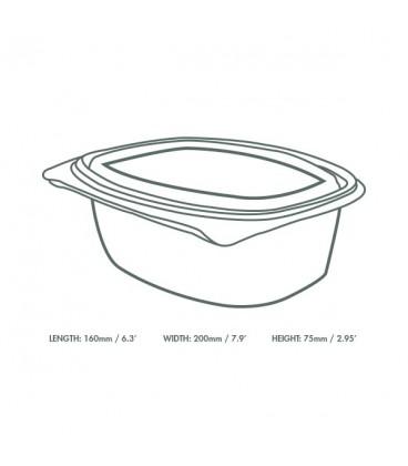 BARQUETTE À COUVERCLE sans plastique pour salade EN PLA 1400 ML
