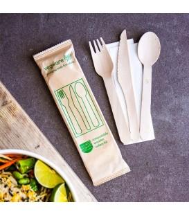 Kit couverts compostable en bois - 250 kits