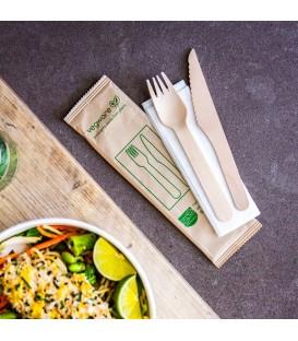 Kit couteau et fourchette en bois compostable - 250 kits