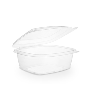 BARQUETTE À COUVERCLE RABATTABLE PLA 720 ml COMPOSTABLE - vaisselle jetable biodégradable