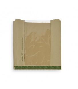 Sachet en kraft avec fenêtre NatureFlex 21 x 21 cm - 1000 sachets