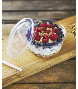 COUVERCLE ROND PLA POUR RECIPIENT de 240 - 900 ml COMPOSTABLE - vaisselle jetable biodégradable