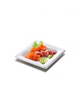 ASSIETTE PLATE ET CARREE EN PULPE BLANCHE 21CM COMPOSTABLE - vaisselle jetable compostable