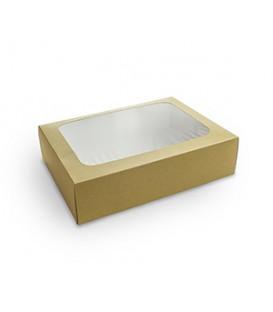 BOÎTE À SANDWICH AVEC FENETRE KRAFT COMPOSTABLE - vaisselle jetable recyclable