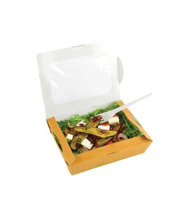 BOLS À SALADE AVEC FENETRE KRAFT 1100ML COMPOSTABLE