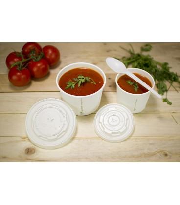 COUVERCLE jetable biodégradable pour bols à soupe 175 à 275 ml COMPOSTABLE