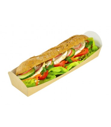 SUPPORT DE SANDWICH CHAUD OU FROID EN KRAFT - 500 SUPPORTS