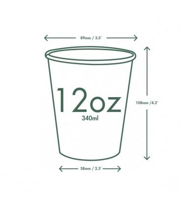 GOBELET BLANC ou KRAFT 360 ml POUR BOISSONS CHAUDES COMPOSTABLE